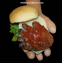 Halloween Recipes - Hand-Burger Dripping in Blood