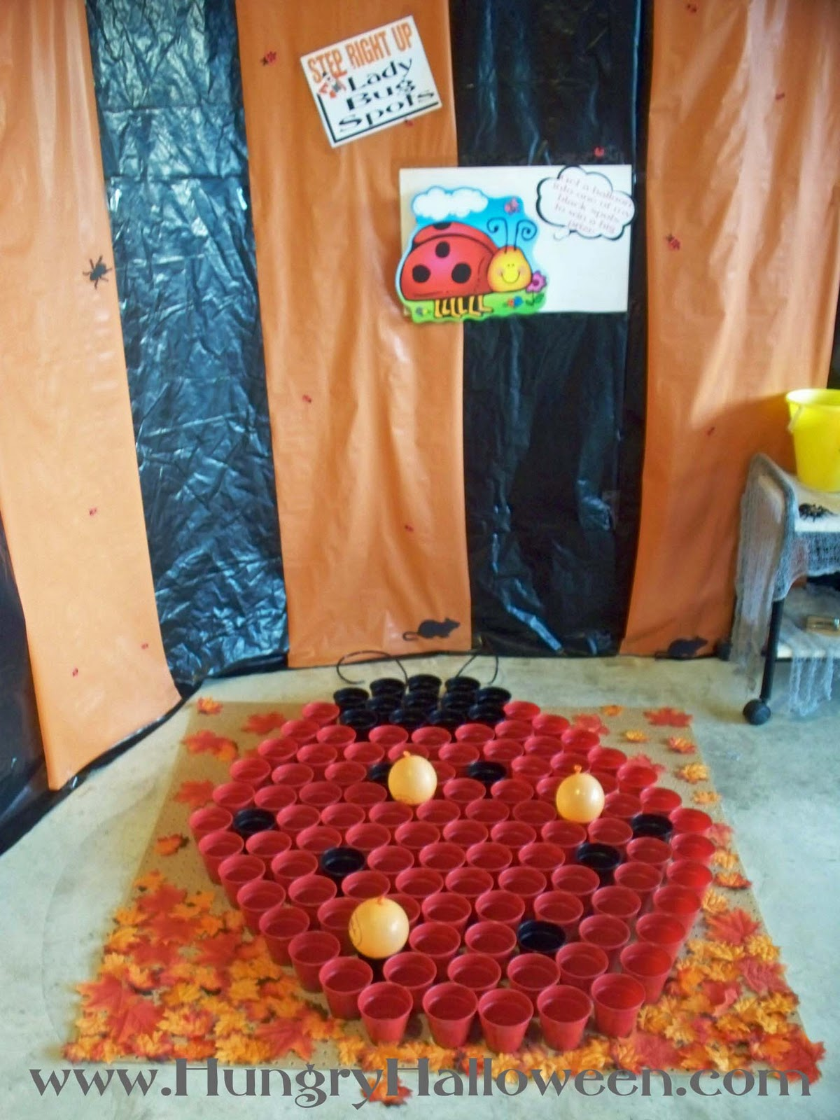 i created this lady bug game using plastic drinking cups i glued them to a large board added some antenna and decorated with fall leaves the kids will - Kids Halloween Radio