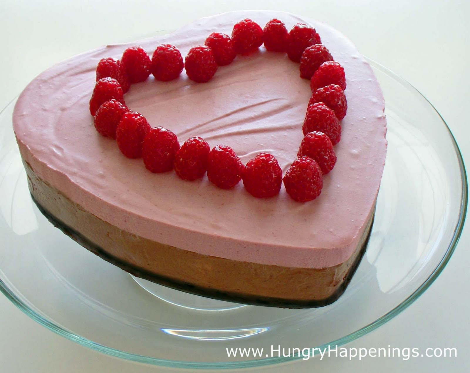 Valentine's Day Chocolate Raspberry Mousse Cake - Hungry Happenings