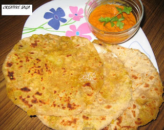 Sweet potato parathas with tomato onion chutney ~ Creative saga...