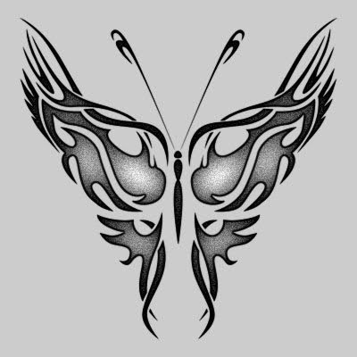 Swallow bird tattoo and butterfly tribal tattoo.