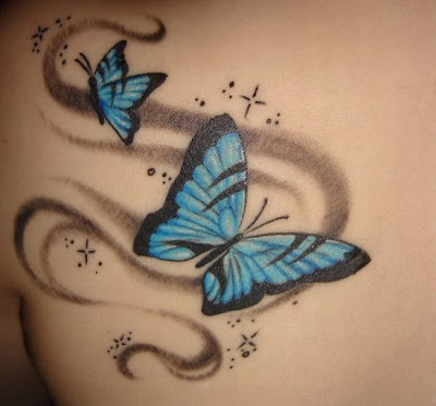 Butterfly tattoo, Stars tattoo Butterfly and Stars tattoo design.