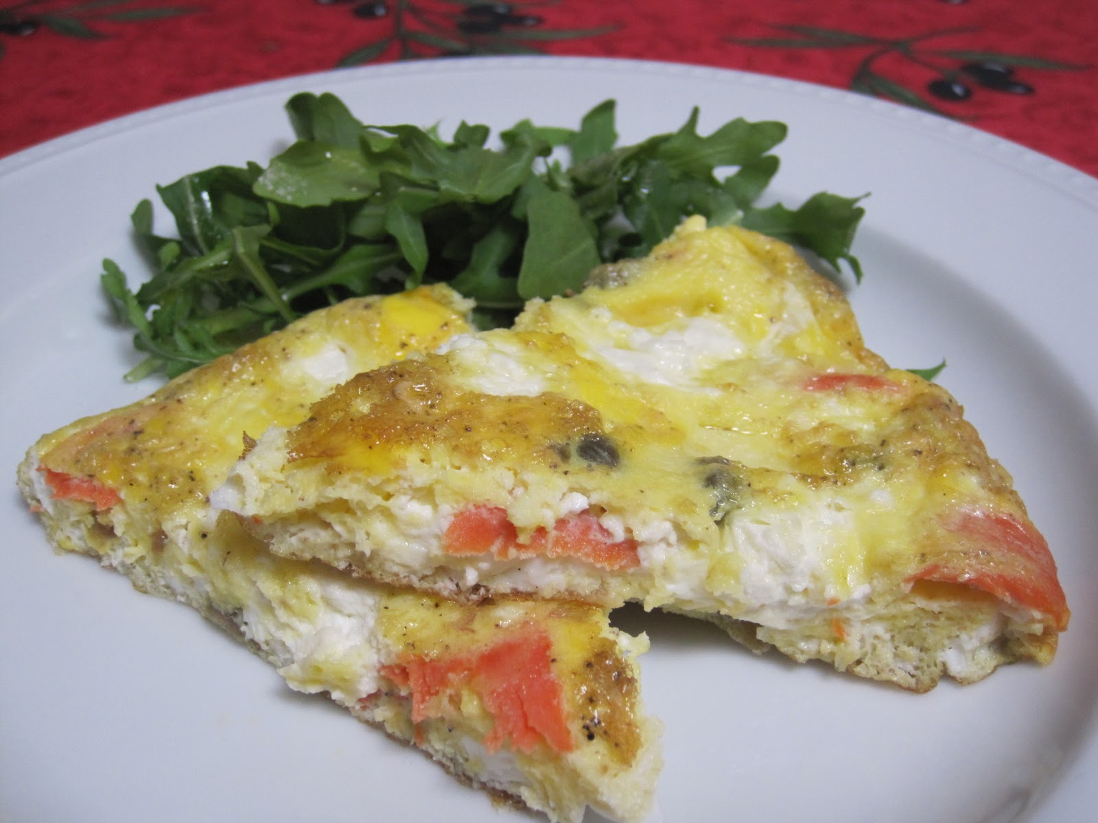 diet schmiet!: Smoked Salmon Frittata with Goat Cheese, Capers & Red ...