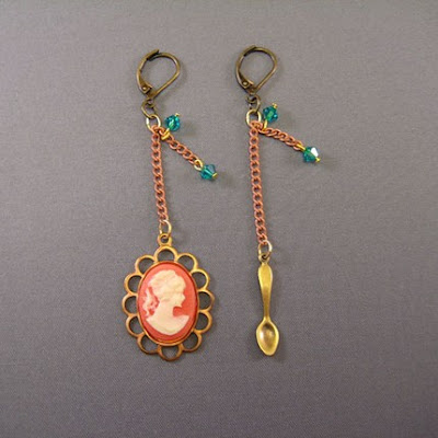 Cameo and Spoon Earrings from Etsy