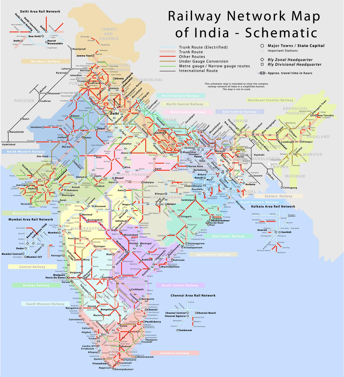 Travel By Train In India Indian Railways Map Aaon Schematics Railway Network Schematic