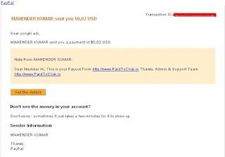 Payout Dari PaidToClick.in