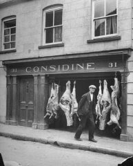 A view of a butcher's shop in Ennis, by Hans Wild,  Life Magazine online