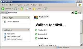 Windows ohjauspaneeli käyttätilit