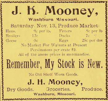 James Harvey Mooney's Store Ad - early 1900's