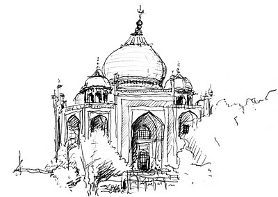 travel drawing taj mahal agra india 2005