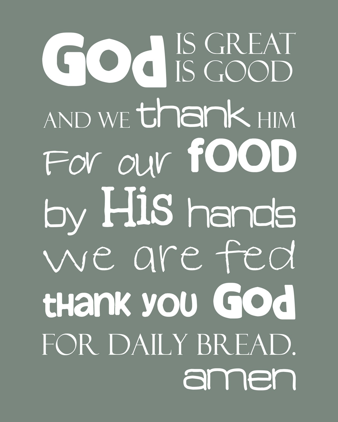 Kitchen Prayer Quotes: Simply Awesome Printables: God Is Great Prayer Wall Art