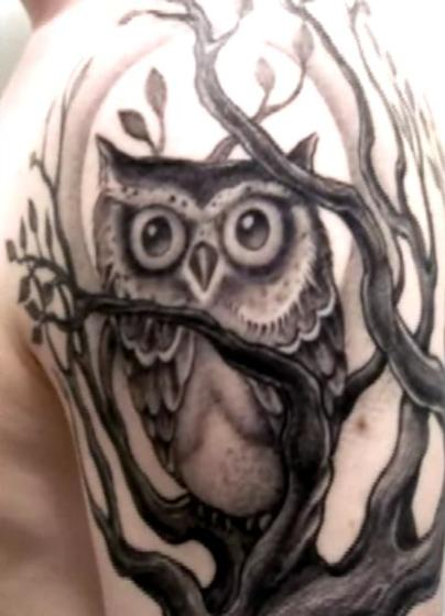 tattoo owl. moon owl tattoo markings are