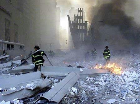 O resultado do estrago depois da destruição da torres.