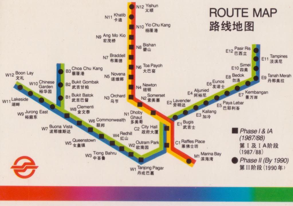 The old route map before the MRT system started running