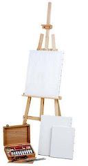 Cavalete + 3 Telas + Caixa de madeira com oleos Van Gogh