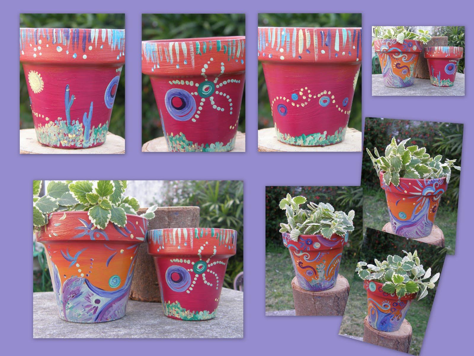 Lago de las mariposas llegaron las macetas pintadas for Fotos de plantas en macetas