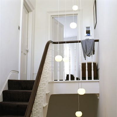 Foyer Chandeliers on Modern White And  Gray Foyer Design With  Original Pending Lighting