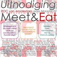 dinsdagavond 18:00 uur Meet&Eat in het MECC zaal 2.7 MEUSE