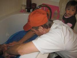 Sophia's first tub bath at home...a family affair