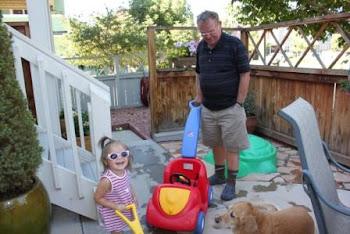 Having fun outside with Grandpa