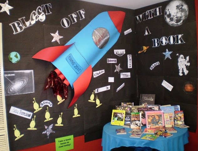 Library displays blast off with a book for Space blast 3d