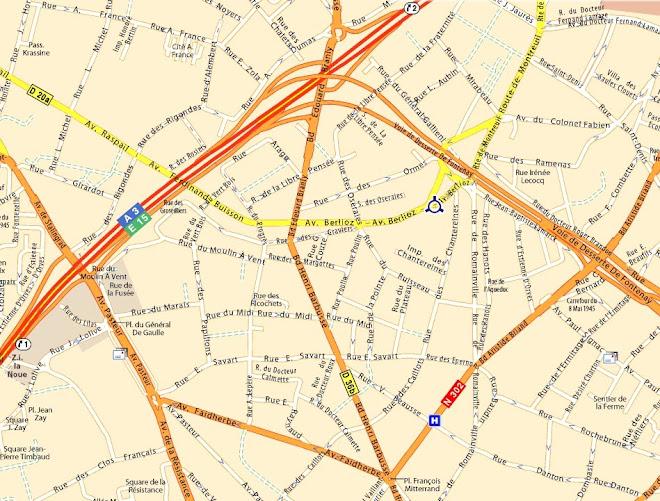 Plan d'accès au 54 av. Berlioz à Montreuil