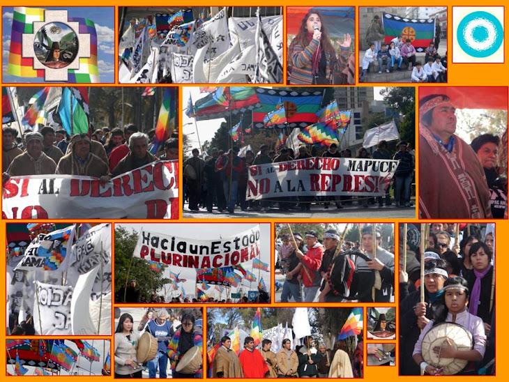La marcha en Neuquen con la presencia de Sandra Rodriguez viuda de Carlos Fuentealba.