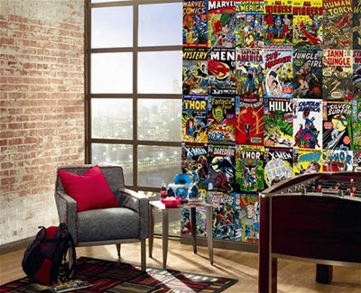 Wallpaper Design : Mural Made from Marvel Comic Book Covers
