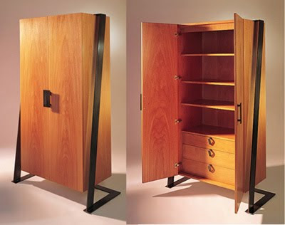 Wooden Armoire Doubles as Media Cabinet