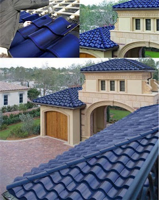 Blue Solar Tiles Modern Roof House