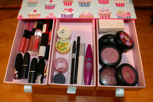 makeup collection drawer organized