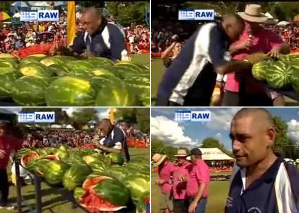 Esmagar 47 melancias com a cabeça