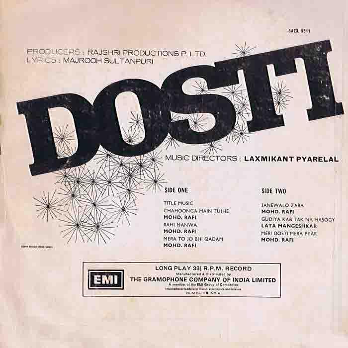 Chahunga Main Tujhe Hardam Albums Name: My Music Movies And Mutterings: MUSIC #19: DOSTI 1964