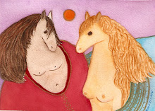 Horselovers--painting by Mitzi Linn