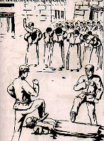 Drawing of a Thamzing session held to brutalize the Tibetan population