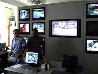 Control room of CCTV surveillance system in Tibet