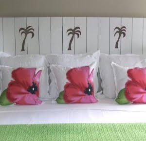 headboard with palm trees