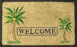 palm tree welcome doormat