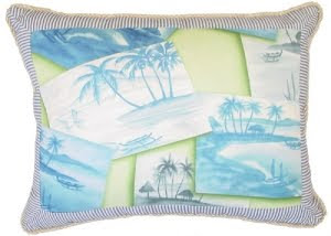 palm tree postcard pillow