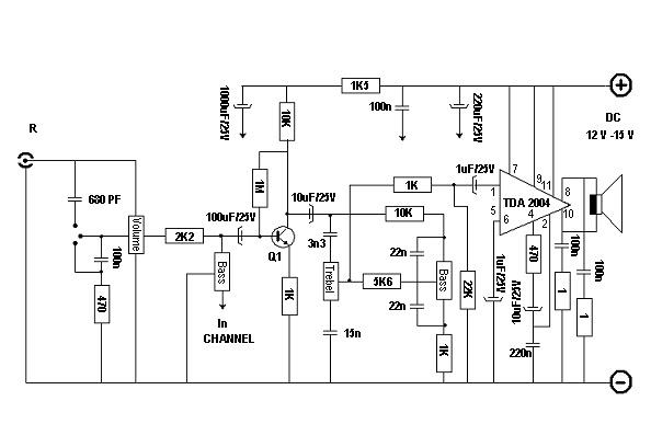 Rangkaian amplifier TDA 2004