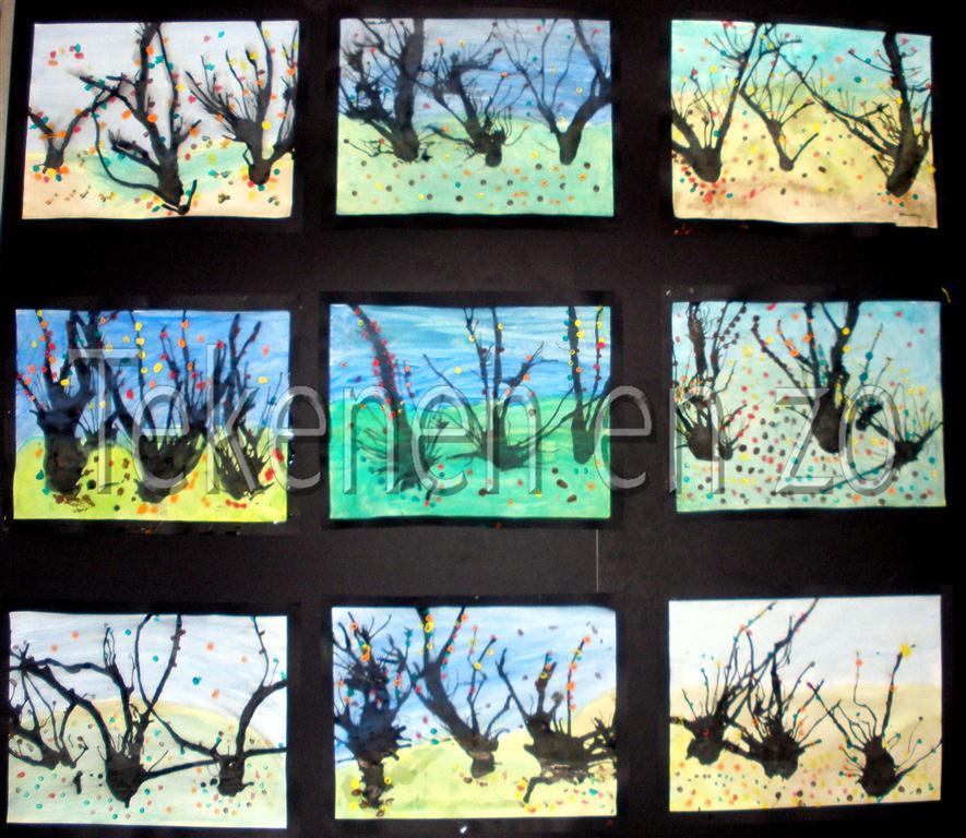 herfst tekeningen groep acht boom