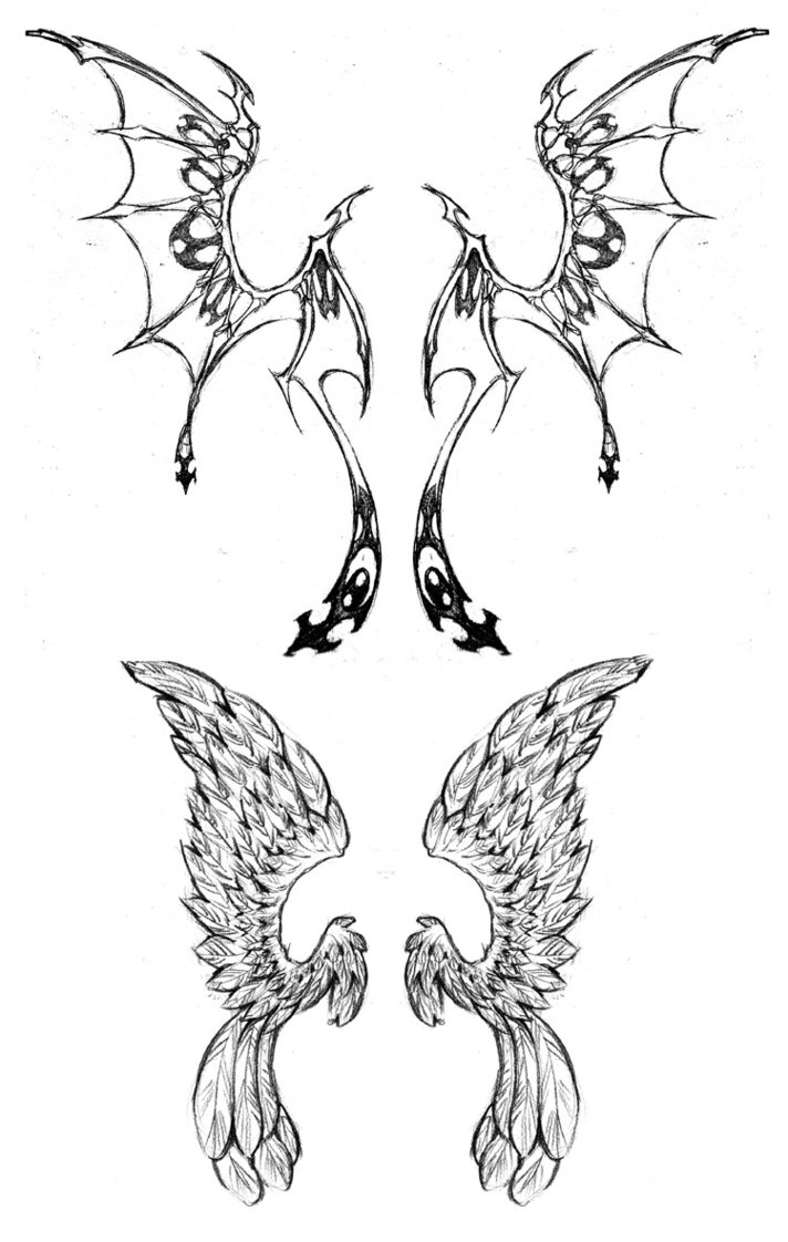 Wing Tattoo Designs Drawings