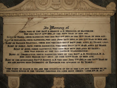 Bronte family monument haworth church Yorkshire