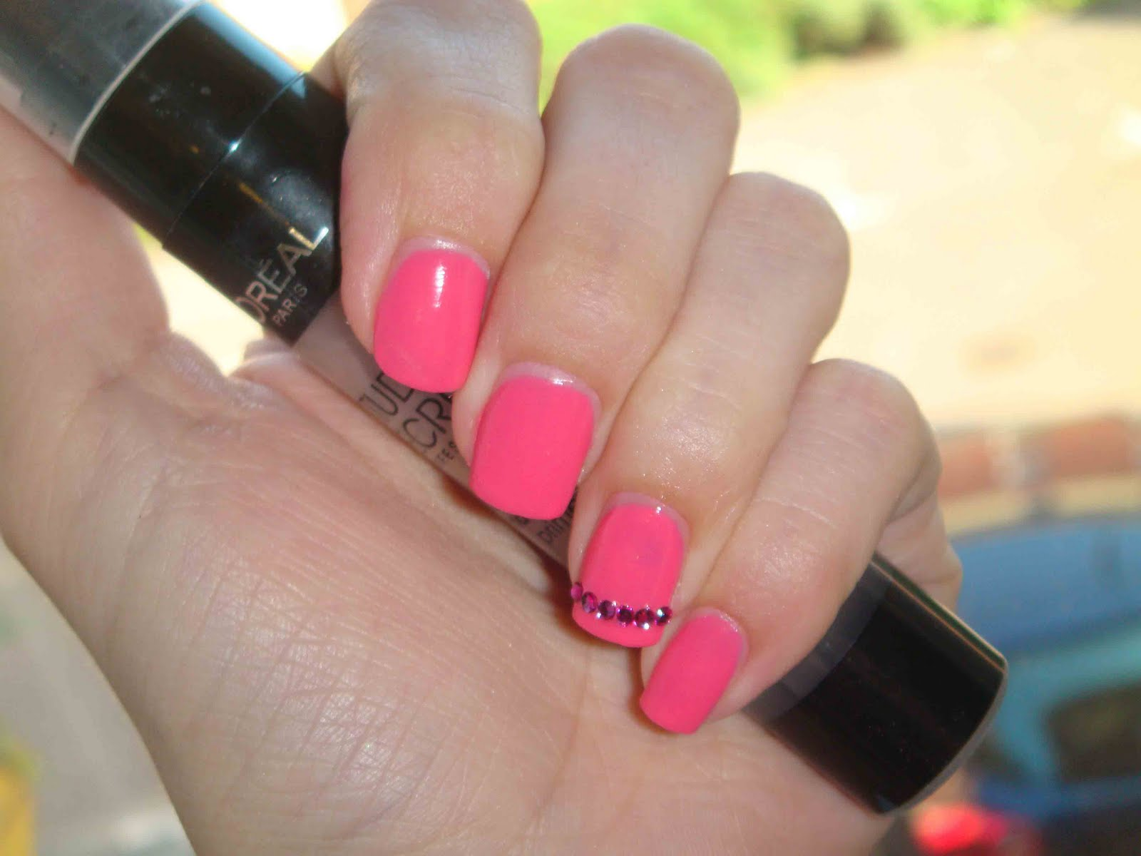BeautifulYouWorld: Easy Barbie Pink Nail Design with Rhinestones for ...