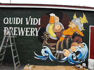 quidi vidi brewery eric red ale wall mural hand painted stu dobell new foundland canada north america