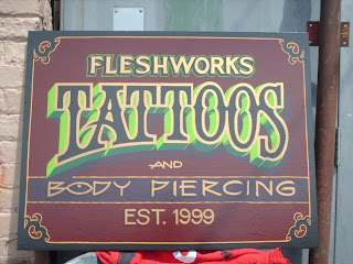Freshworks Tottoos antique signage hand painted Victoria British Columbia Canada North America