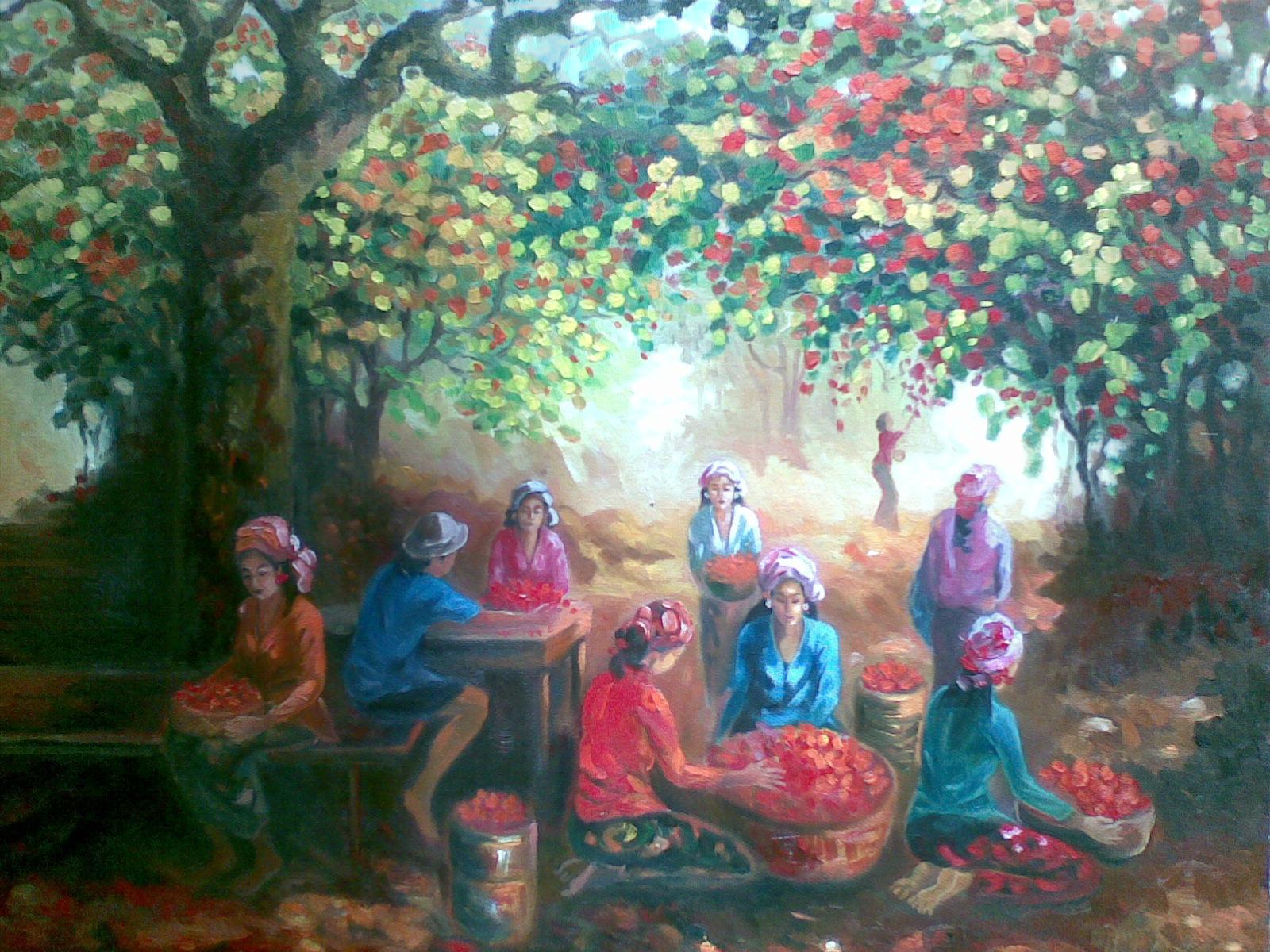 "Memetik bunga,karya""tahta""ukuran 90x120,oil on kanvas,signed and dated ..."
