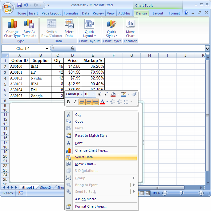 how to put values on top of chart in excel