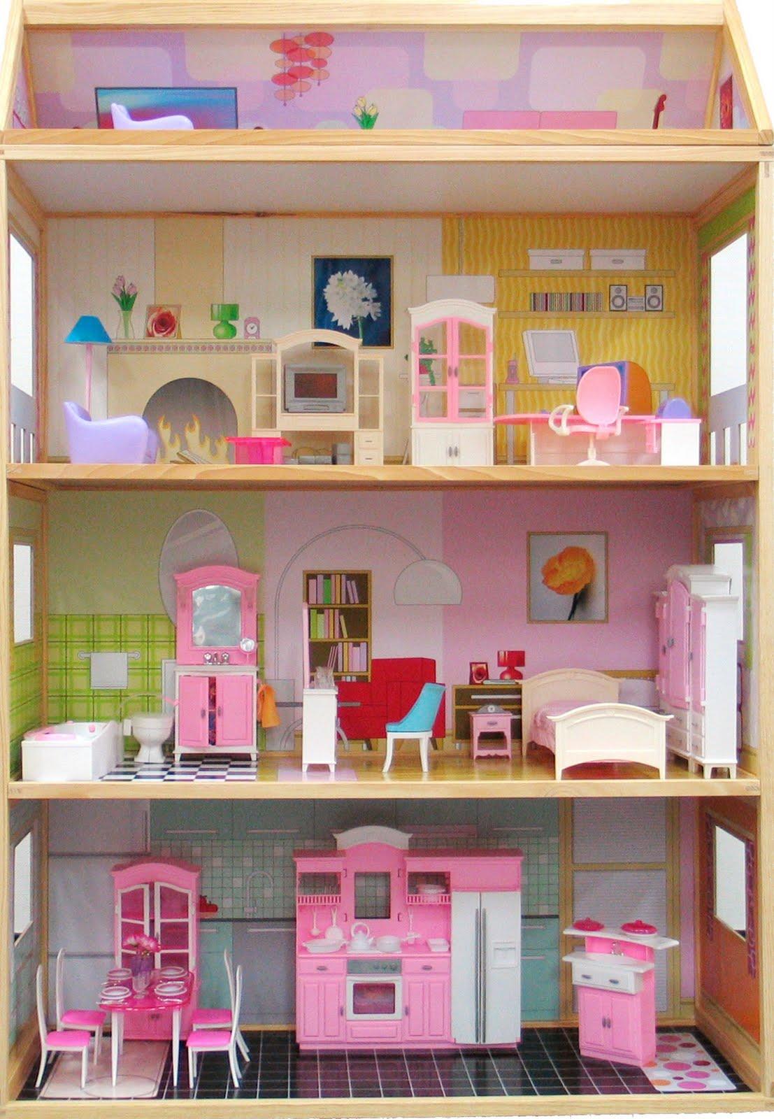 Moveis Barbie Para Casa De Boneca 17 Pc Casa De Madeira #997032 1107x1600