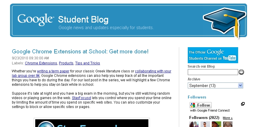 google blogspot. Google Student Blog: